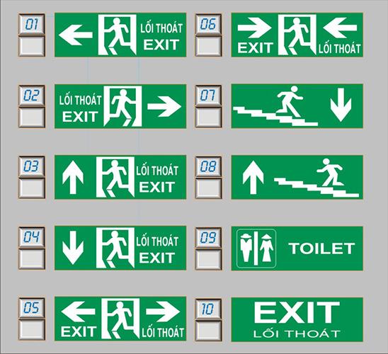 Mẫu các loại Đèn exit 1 mặt Kentom